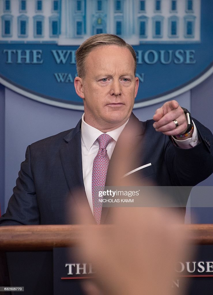 White House Press Secretary Sean Spicer holds the first daily press briefing of the Trump administration in the Brady Press Briefing Room at the White House in Washington, DC, January 23, 2017. / AFP / NICHOLAS