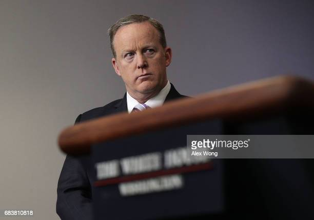 White House Press Secretary Sean Spicer listens during a press briefing at the James Brady Press Briefing Room of the White House May 16 2017 in...