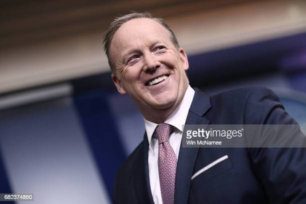 White House Press Secretary Sean Spicer listens to National Security Advisor HR McMaster during the daily news conference in the Brady Press Briefing...