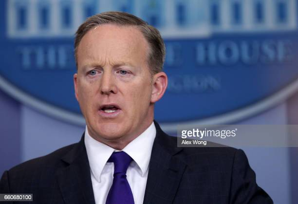 White House Press Secretary Sean Spicer participates in a daily press briefing at the James Brady Press Briefing Room of the White House March 30...