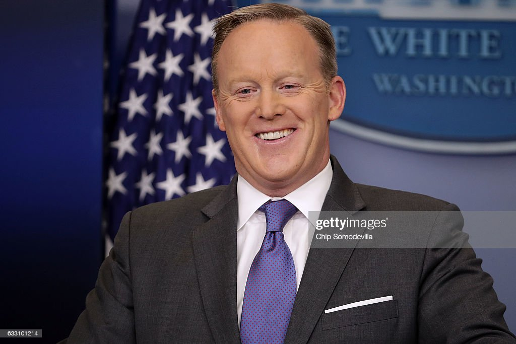 White House Press Secretary Sean Spicer reacts to reporters' questions in the Brady Press Briefing Room at the White House January 30, 2017 in Washington, DC. U.S. President Donald Trump announced Monday that he will reveal his 'unbelievably highly respected' pick to replace the late Supreme Court Antonin Scalia on Tuesday evening.
