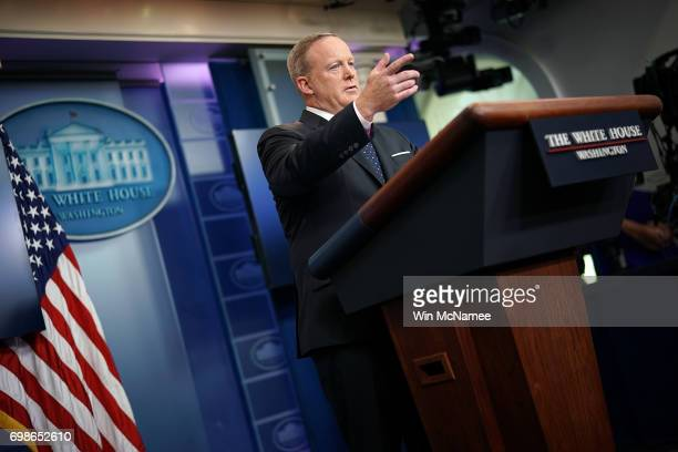 White House press secretary Sean Spicer responds to questions during a briefing at the White House June 20 2017 in Washington DC Spicer answered a...