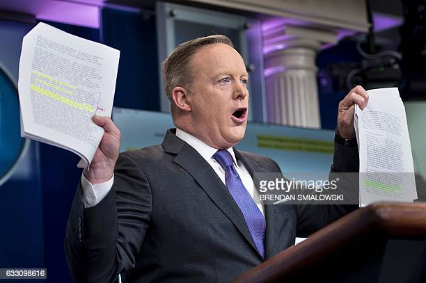 White House Press Secretary Sean Spicer speaks about the National Security Council during a press briefing at the White House January 30 2017 in...