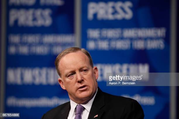 White House Press Secretary Sean Spicer speaks at the Newseum during their 'The President and The Press The First Amendment in the First 100 Days'...