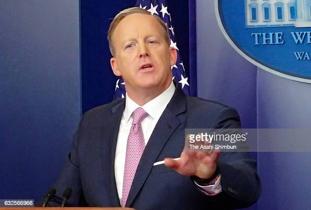 White House Press Secretary Sean Spicer speaks during a daily briefing at the James Brady Press Briefing Room of the White House on January 23 2017...