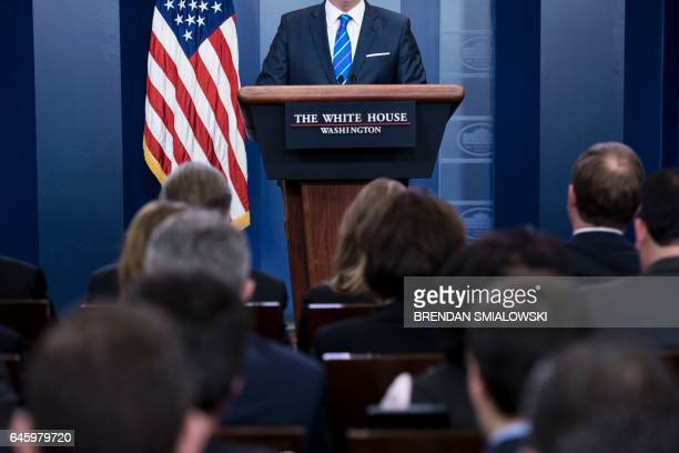 White House Press Secretary Sean Spicer speaks during a press briefing at the White House February 27 2017 in Washington DC / AFP / Brendan Smialowski