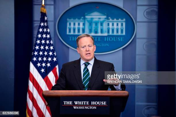 White House Press Secretary Sean Spicer speaks during the daily briefing at the White House January 25 2017 in Washington DC / AFP / Brendan...