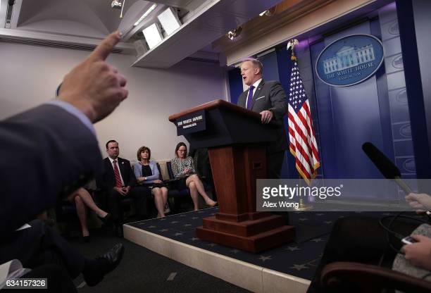 White House Press Secretary Sean Spicer speaks during the daily briefing at the James Brady Press Briefing Room of the White House February 7 2017 in...