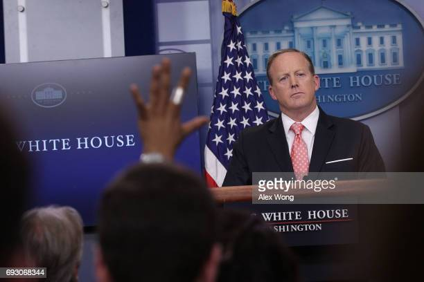 White House Press Secretary Sean Spicer speaks during the daily briefing at the James Brady Press Briefing Room of the White House June 6 2017 in...