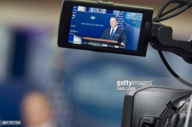 White House Press Secretary Sean Spicer speaks during the daily press briefing in the Brady Press Briefing Room of the White House in Washington DC...