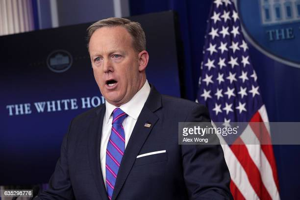 White House Press Secretary Sean Spicer speaks to members of the White House press corps during a daily press briefing at the James Brady Press...