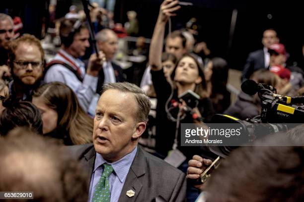 White House press secretary Sean Spicer speaks to the media before a rally held by President Trump on March 15 2017 in Nashville Tennessee During his...