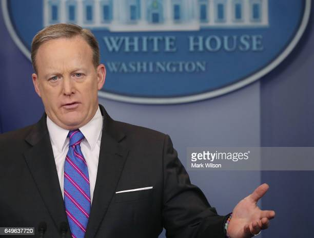 White House Press Secretary Sean Spicer speaks to the media during his daily briefing at the White House on March 8 2017 in Washington DC