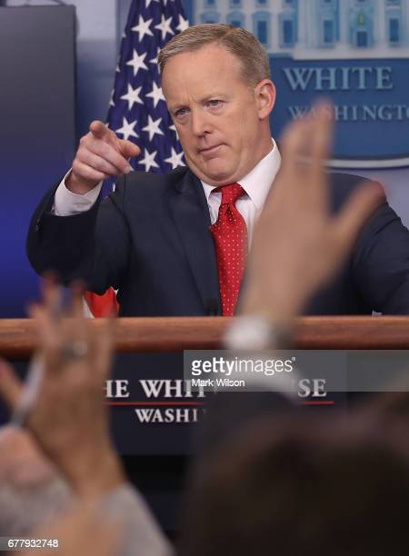 White House Press Secretary Sean Spicer speaks to the media during his daily briefing at the White House, on May 3, 2017 in Washington, DC.
