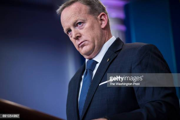 White House press secretary Sean Spicer speaks to the media during the daily press briefing at the White House in Washington DC on Tuesday May 30...
