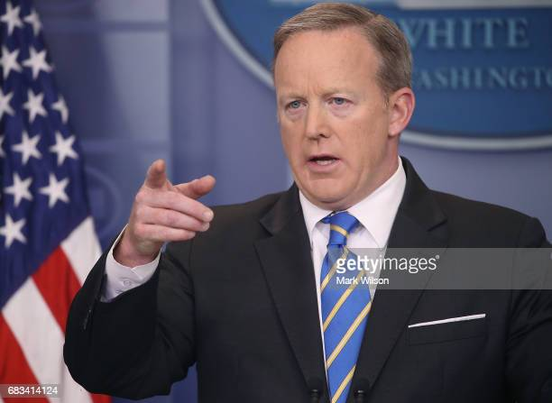 White House Press Secretary Sean Spicer speaks to the media in the briefing room at the White House on May 15 2017 in Washington DC Spicer fielded...