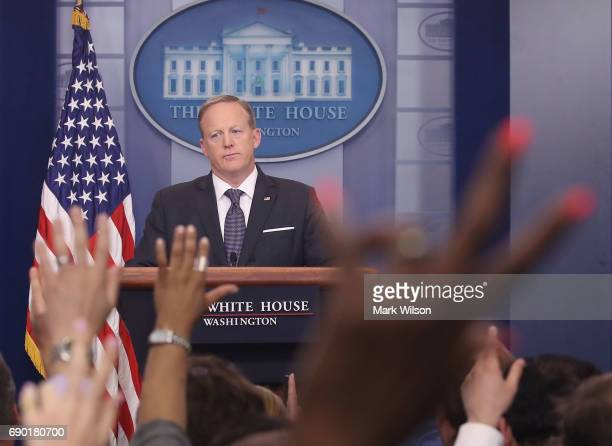 White House Press Secretary Sean Spicer speaks to the media in the briefing room at the White House on May 30 2017 in Washington DC
