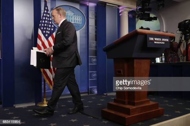 White House Press Secretary Sean Spicer steps away from the lecturn at the conclusion of the daily press breifing at the White House May 15 2017 in...