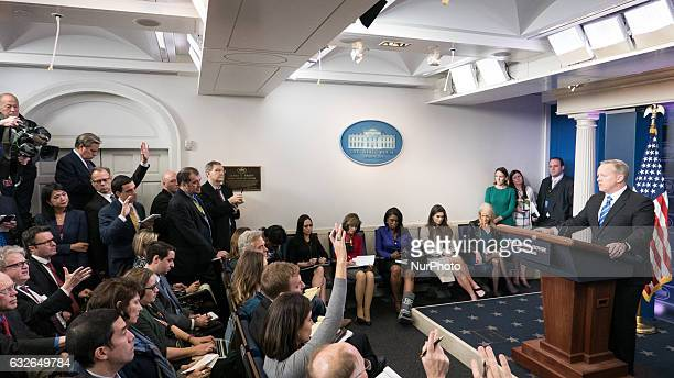 White House Press Secretary Sean Spicer takes questions during the daily press briefing in the James Brady Press Briefing Room at the White House...