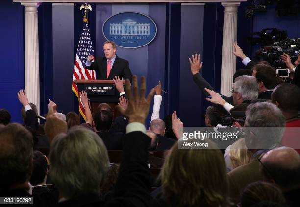 White House Press Secretary Sean Spicer takes questions during the daily press briefing at the James Brady Press Briefing Room of the White House...
