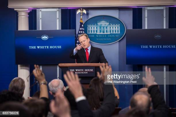White House press secretary Sean Spicer takes questions during the daily news briefing at the White House in Washington DC on Friday Feb 03 2017