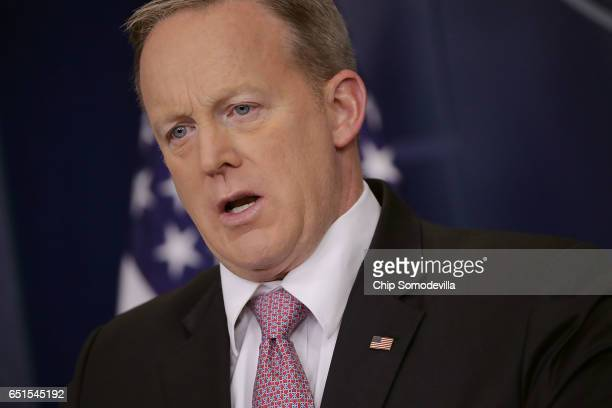 White House Press Secretary Sean Spicer takes questions from reporters during his daily press briefing in the Brady Press Briefing Room at the White...