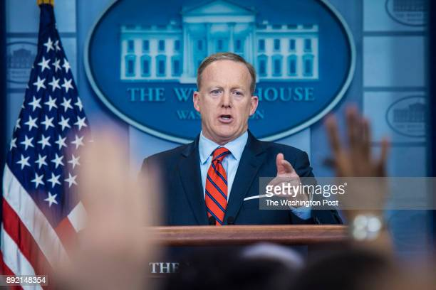 White House press secretary Sean Spicer talks to the reporters and members of the media during the daily press briefing at the White House in...