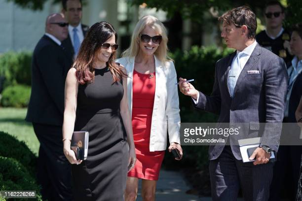 White House Press Secretary Stephanie Grisham Counselor to the President Kellyanne Conway and Deputy Press Secretary Hogan Gidley walk onto the South...
