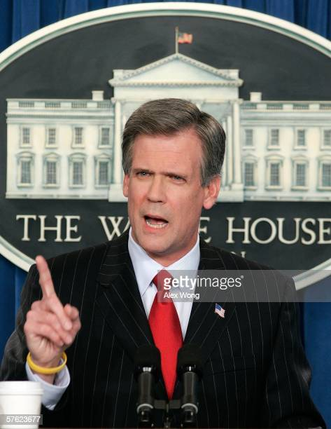White House Press Secretary Tony Snow gestures as he briefs the media at the White House May 16, 2006 in Washington, DC. Snow gave his first briefing...