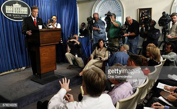 White House Press Secretary Tony Snow holds his first media briefing at the White House May 16, 2006 in Washington, DC. Snow answered questions from...