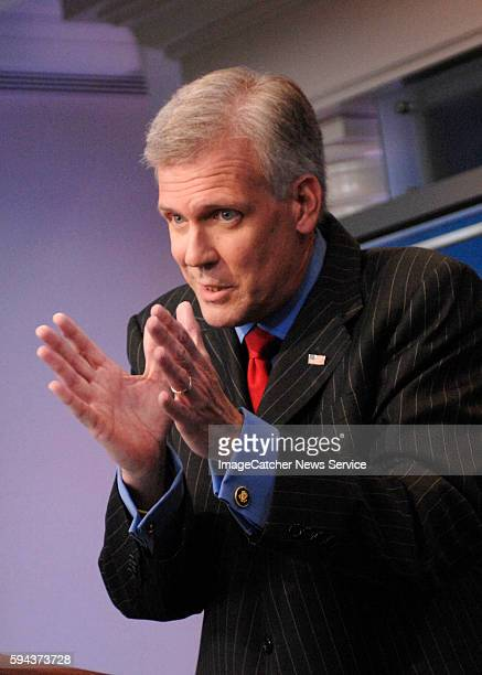White House Press Secretary Tony Snow holds the first briefing in the newly renovated James Brady Briefing Room at the White House in Washington DC.
