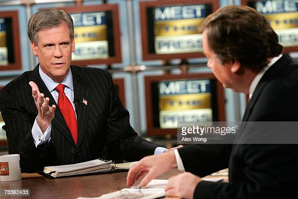 White House Press Secretary Tony Snow speaks as he is interviewed by moderator Tim Russert during a taping of Meet the Press at the NBC studios...