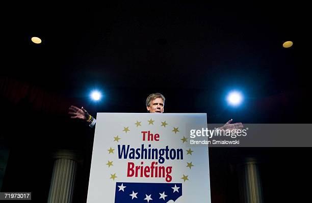 White House Press Secretary Tony Snow speaks during the Washington Briefing of the 2006 Values Voter Summit September 22, 2006 in Washington, DC. The...
