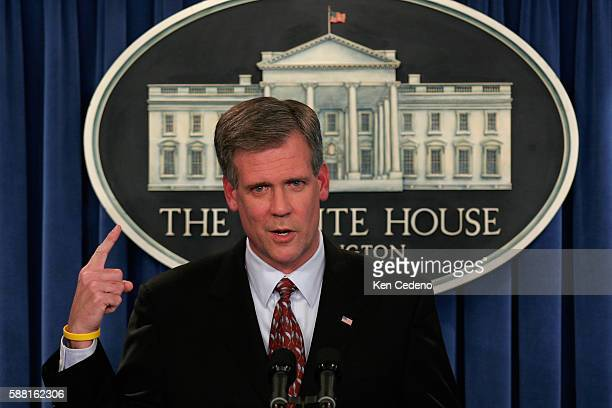 White House Press Secretary Tony Snow speaks to the press in the briefing room of the White House, July 18, 2009. Many questions were regarding...