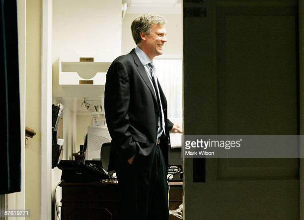 White House Press Secretary Tony Snow stands in the press office prior to U.S. President George W. Bush delivering a speech on Immigration May 15,...