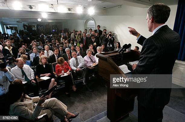 White House Press Secretary Tony Snow takes questions as he briefs the media at the White House May 16, 2006 in Washington, DC. Snow gave his first...