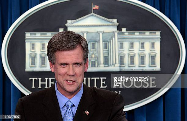 White House Press Secretary Tony Snow takes questions from reporters during his second on-camera news briefing, Wednesday, May 17 in Washington.