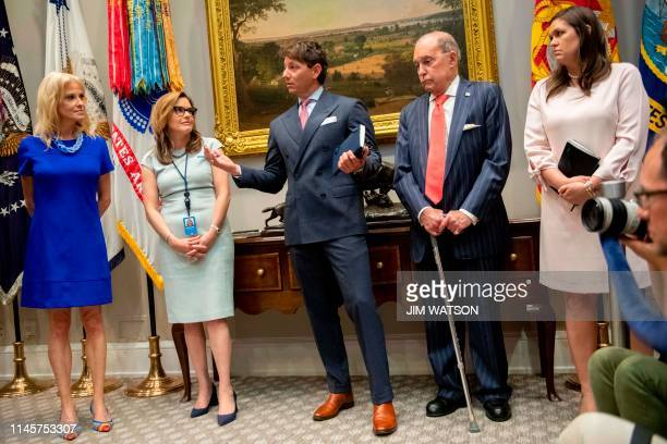 White House Principal Deputy Press Secretary Hogan Gidley speaks flanked by Presidential counselor Kellyanne Conway White House Strategic...