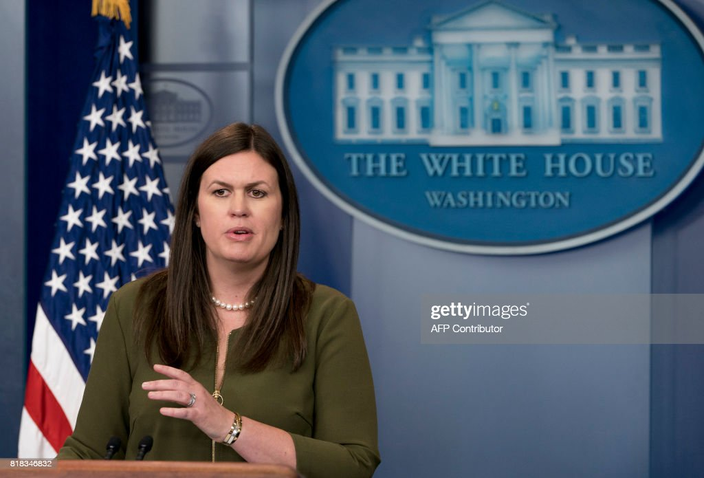 White House Principal Deputy Press Secretary Sarah Huckabee Sanders speaks during the daily press briefing in the Brady Press Briefing Room of the White House in Washington, DC, July 18, 2017. /