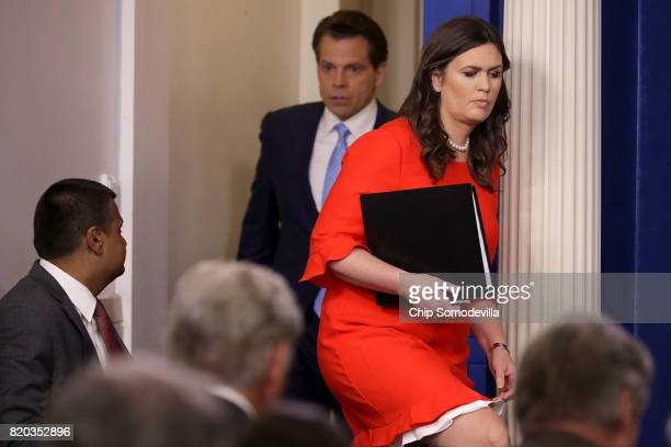 White House Principal Deputy Press Secretary Sarah Huckabee Sanders and Anthony Scaramucci arrive for the daily White House press briefing in the...
