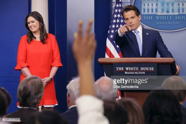 White House Principal Deputy Press Secretary Sarah Huckabee Sanders and Anthony Scaramucci conduct the daily White House press briefing in the Brady...