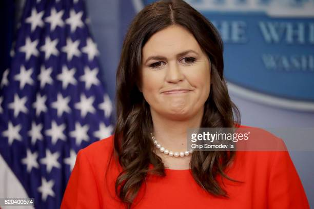 White House Principal Deputy Press Secretary Sarah Huckabee Sanders holds an oncamera briefing with reporters in the Brady Press Briefing Room at the...