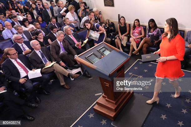 White House Principal Deputy Press Secretary Sarah Huckabee Sanders takes the podium for an oncamera briefing with reporters in the Brady Press...