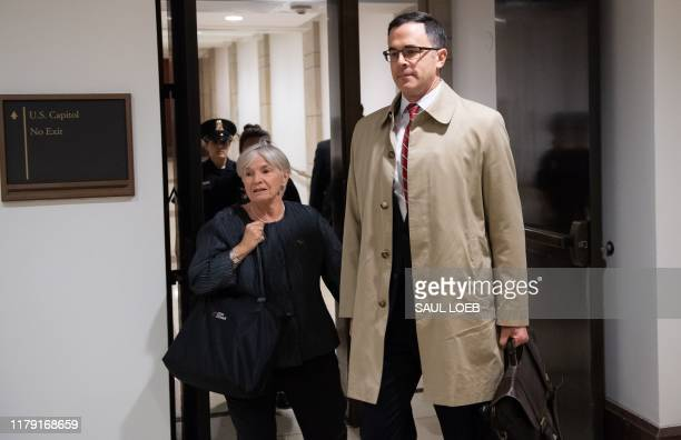 White House Russia expert Timothy Morrison arrives for a deposition for the House Impeachment inquiries at the US Capitol in Washington DC October 31...