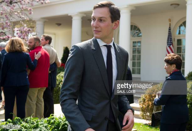White House Senior Adviser Jared Kushner leaves following a speech by US President Donald Trump about tax cuts during an event with American workers...