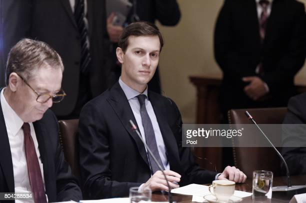 White House senior adviser Jared Kushner looks on during a meeting between US President Donald Trump and South Korean President Moon Jaein in the...