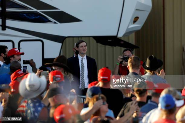 White House Senior Adviser Jared Kushner smiles as he is introduced by President Donald Trump during a campaign rally on October 18, 2020 in Carson...