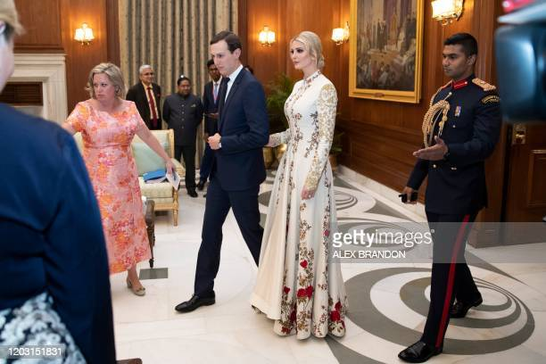 White House senior advisers Ivanka Trump and Jared Kushner arrive for a state banquet at Rashtrapati Bhavan - The Presidential Palace in New Delhi on...