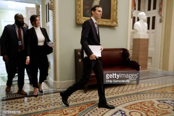 White House Senior Advisor and President Donald Trump's soninlaw Jared Kushner leaves the weekly Senate Republican policy luncheon at the US Capitol...