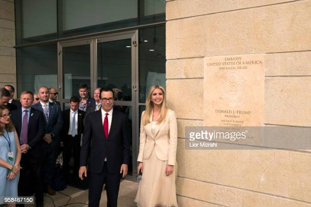 White House senior advisor Ivanka Trump and US Treasury Secretary Steven Mnuchin arrive to the opening of the US embassy in Jerusalem on May 14 2018...